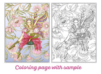 Fairy with butterfly wings on swingю Coloring page.