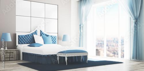 Camera da letto matrimoniale di lusso bianca e azzurra render ...
