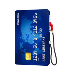 Credit Card and Gas Pump Nozzle