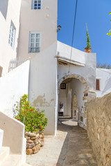 Traditional narrow street in Chora town, Naxos Island, Cyclades,