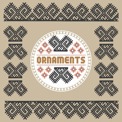 Vintage Nordic Ornament. Ethnic National Ornament. Retro Geometric Embroidery Swatch. Digital background vector illustration.