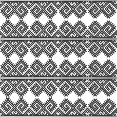 Vintage Nordic Ornament. Ethnic National Ornament. Retro Geometric Embroidery Swatch. Black and White digital background vector seamless pattern.