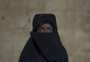 Beautiful Arab African Girl Veiled with a Niqab in Bamako, Mali