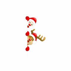 Cute Santa Claus and Rudolph Horizontal Banner