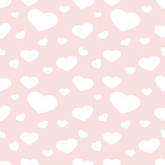 Seamless vector pattern with white hearts on pastel background