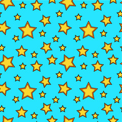 Seamless vector pattern with yellow cartoon stars on blue background.