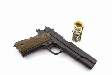 Money with gun.