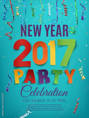 new year 2017 party poster template with ribbons stock image and royalty free vector files on