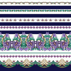 Seamless pattern with stripes and medieval floral pattern.