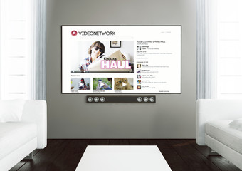wooden living room with video tube channel app at smart tv