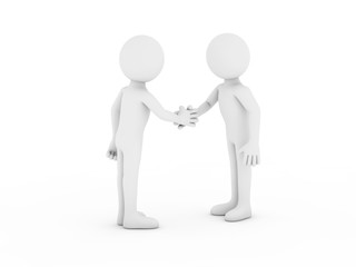 Two people shaking hands.3d rendering
