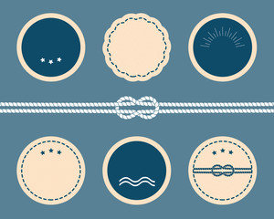 Nautical elements. Blank vector badges and labels.