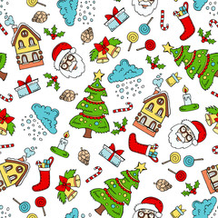 Pattern with hand drawn colored symbols of Merry Christmas, Happy New Year on white color