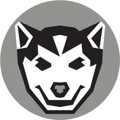 Baby Wolf Cub Head Circle Retro