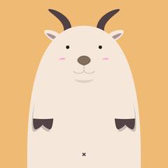 cute fat big goat on light orange background
