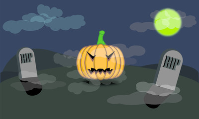 Pumpkin halloween background and tombs