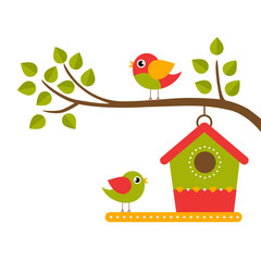 cartoon birds and birdhouse on a branch on a white background