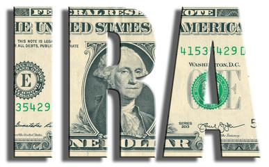 IRA - Individual Retirement Account. US Dollar texture.