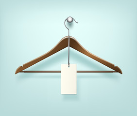 Clothes Coat Brown Wooden Hanger with Sale Blank Label Close Up Isolated on Background