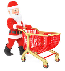 3D Santa Claus pushing a shopping cart