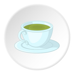 Cup of tea icon in cartoon style isolated on white circle background. Drink symbol vector illustration