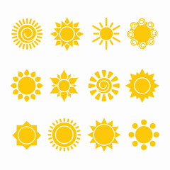 Set of sun icon illustrations, abstract yellow designs in flat art for weather or climate project