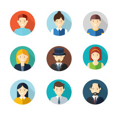 People user pics icons in flat style. Different male and female avatars. Men  women faces collection set. Vector illustration.