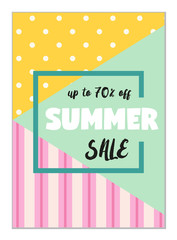 Cute seasonal sale flyer template with lettering in traditional colors. Poster, card, label, banner design set.