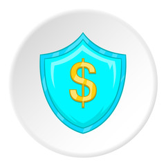 Dollar sign icon in cartoon style isolated on white circle background. Money symbol vector illustration