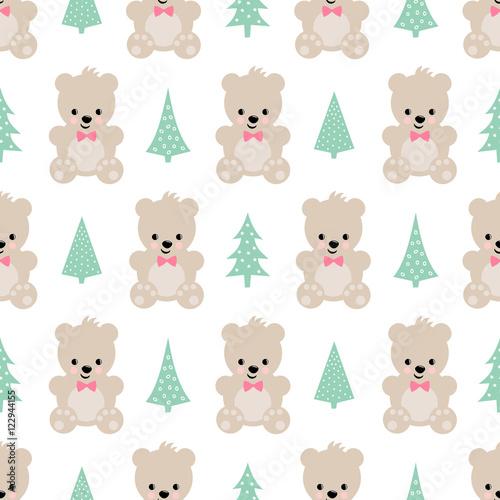 Teddy Bear With Xmas Trees Seamless Pattern On Dark Blue Background