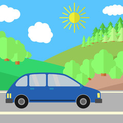 Blue Sport Utility Vehicle on a Road on a Sunny Day. Summer Travel Illustration.