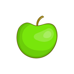 Green apple icon in cartoon style isolated on white background vector illustration