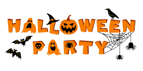 Halloween party lettering. Text and vector elements: bats, crow, pumpkin, jack o'lantern, ghosts, spider, skull, cobweb and witch's hat. Vector illustration, isolated on white background