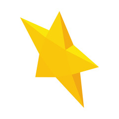 Yellow star icon in isometric 3d style isolated on white background vector illustration