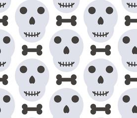Vector halloween seamless patterns. Cartoon skulls. Halloween element.