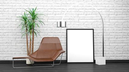 Modern Interior Mock Up With Black Photo Frame, Floor Lamp, Chair, Flower, White Bricks Wall In Background, Dark Wooden Floor, 3D Rendering