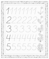 Black and white worksheet on a square paper with exercises for little children. Page with numbers from one to five. Developing skills for writing and counting. Vector image.