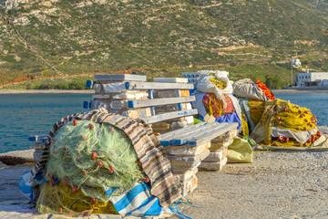 Fishing nets on a pier.