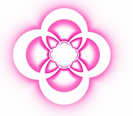 Abstract symmetrical ornamental pattern of pink cross
