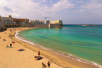Wall Mural - Scenic view of Gallipoli waterfront, Salento, Apulia, Italy