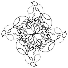 Pattern. Hand drawn graphic flowers