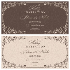 Wedding Invitation cards in an vintage-style brown