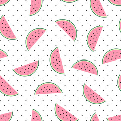 Watermelon slices seamless pattern on white polka dots background. Cute fruit pattern. Summer food vector illustration. Fashion design for textile, wallpaper, web, fabric and decor.