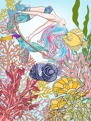 Hand drawn mermaid with gold fish in underwater world.