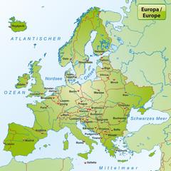 Landkarte von Europa mit Hauptstädten