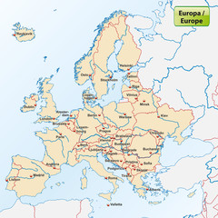 Europakarte mit den Landeshauptstädten