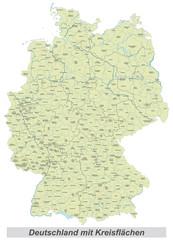 Deutschland mit Kreisflächen und Beschriftung