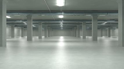 Parking garage interior, industrial building,Empty underground parking. 3d illustration