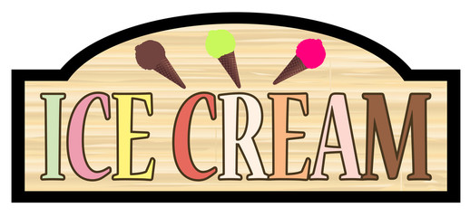 Wooden Store Ice Cream Sign