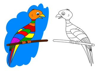 Colorful bird on a perch like a coloring book for young children - vector eps